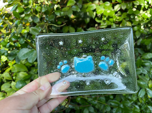 Glass Soap Dish 1 -Blue Kitty Star
