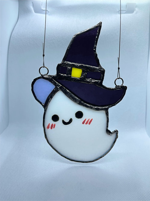 Stained Glass Suncatcher - Ghost Witch 5 (w/ Purple Hat)
