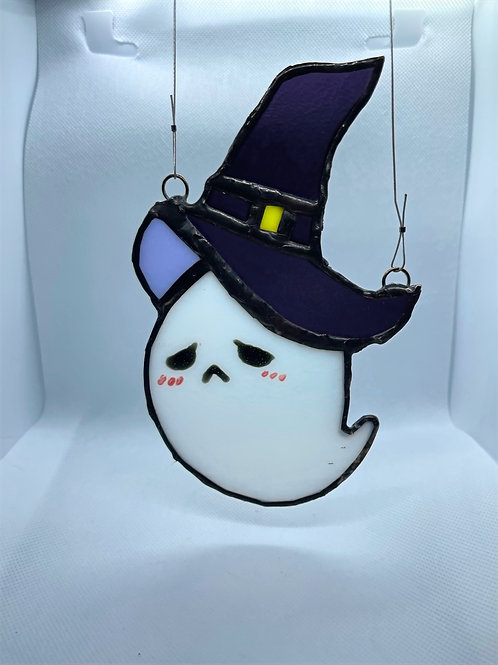 Stained Glass Suncatcher - Ghost Witch 8 (w/ Purple Hat)