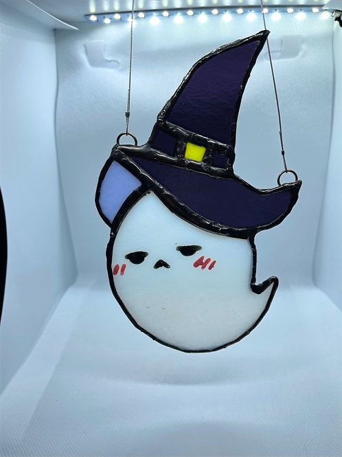 Stained Glass Suncatcher - Ghost Witch 3 (w/Purple Hat)