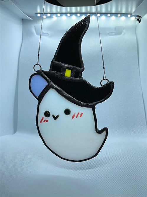 Stained Glass Suncatcher - Ghost Witch 10 (w/ Purple Hat)