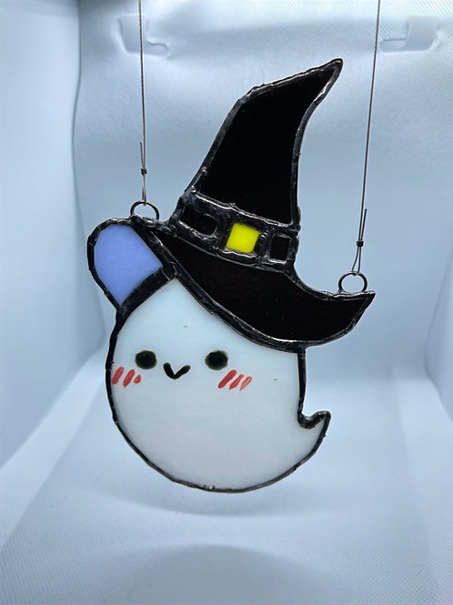 Stained Glass Suncatcher - Ghost Witch 4 (w/ Black Hat)
