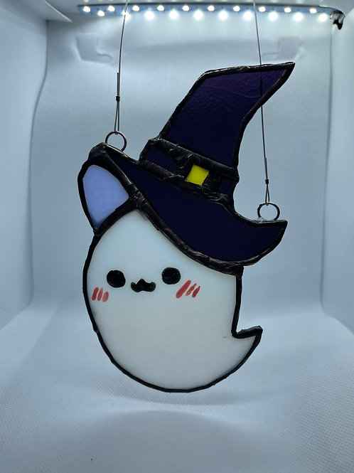 Stained Glass Suncatcher - Ghost Witch 6 (w/ Purple Hat)
