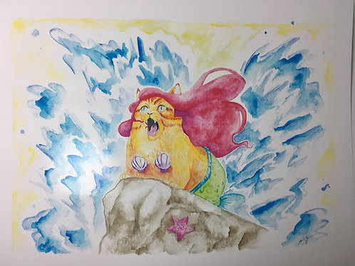 Mermaid Kitty -print