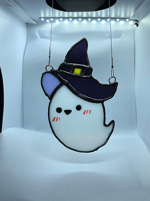 Stained Glass Suncatcher - Ghost Witch 13 (w/ Purple Hat)