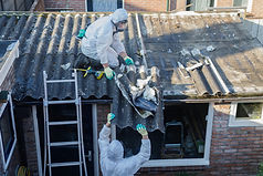Professional asbestos removal. Men in pr