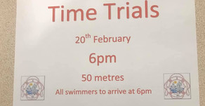 Time Trials Development Swimmers