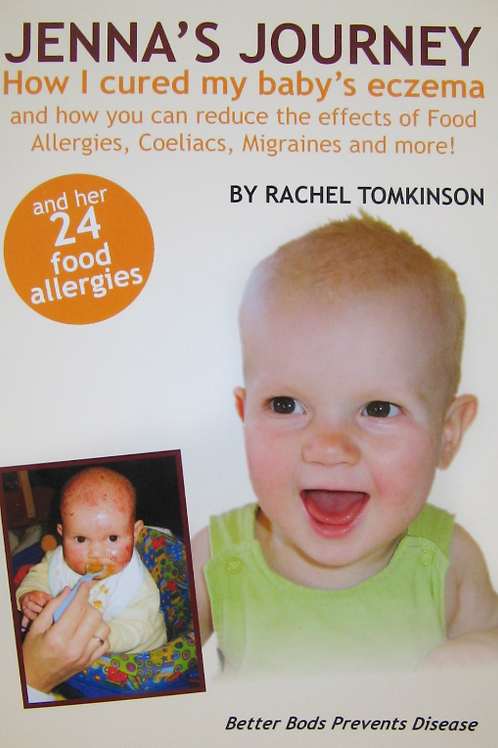 "Book cover ""Jenna's Journey: How I cured my baby's eczema"" by Rachel Tomkinson"