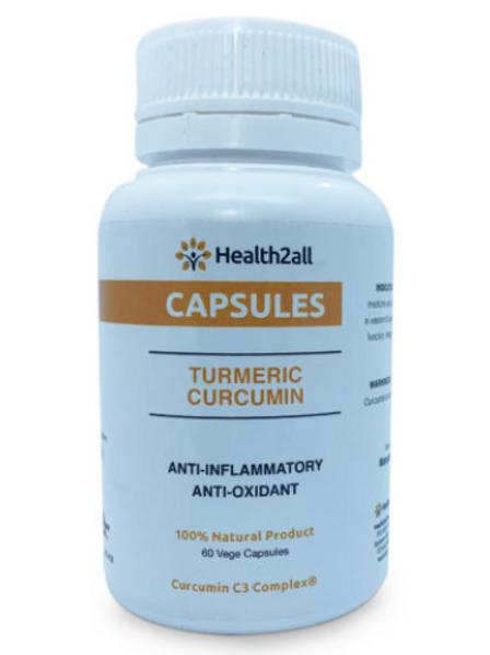 bottle of Tumeric Curcumin capsules 60 vege capsules