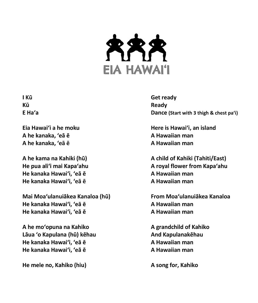 Words to Eia Hawai'i
