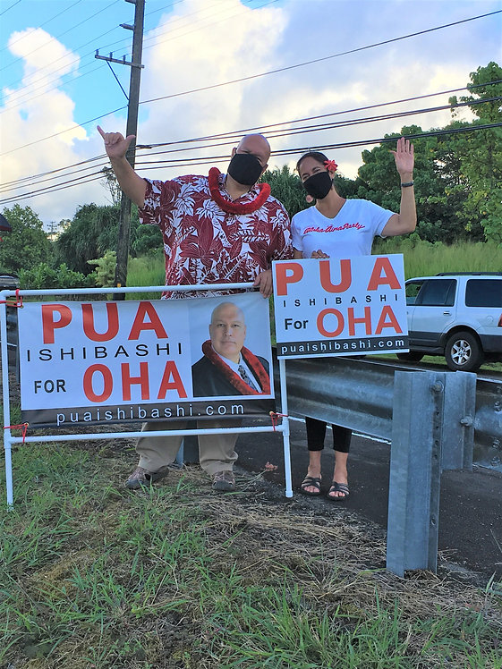 Gloria and Pua sign waiving in Kea'au Pu