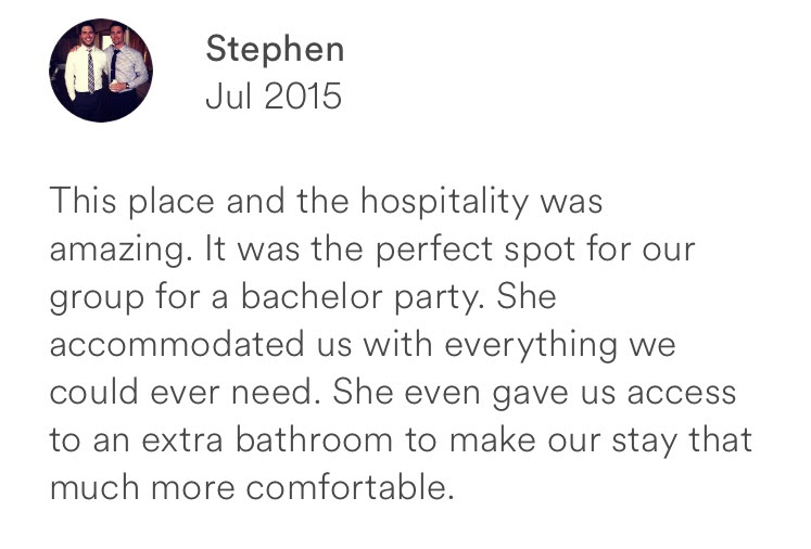 Stephen July 2015 + bachelor party + perfect spot + extra bathrooms