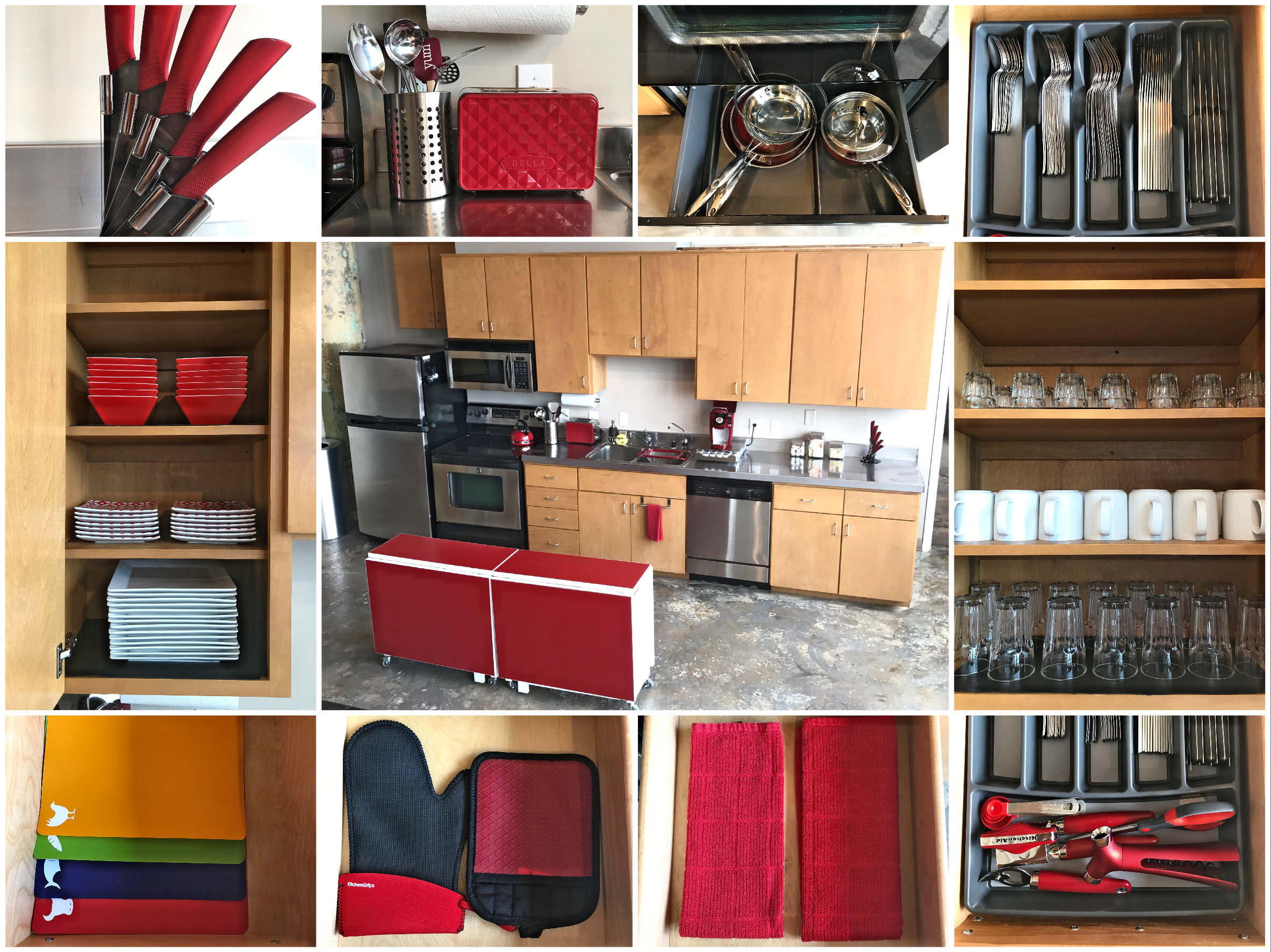 Loft Reverie Hotel 707 Kitchen + Amenities + Towels + Knives + Utensils + Dishes + Cookware