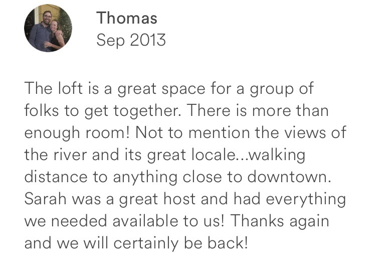 Thomas September 2013 + great space + spacious + views walking distance to anything downtown