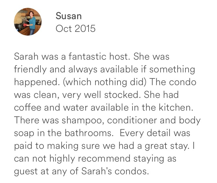 Susan October 2015 + fantastic + friendly + clean + coffee + water + shampoo + conditioner + body so