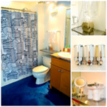 Full bathrooms with bath, toilet, sink, cabinets, shelving, shampoo, conditioner, body wash, cottom products, vanity mirror, hair dryer, towels, fragrance spray, cleaning supplies and more.