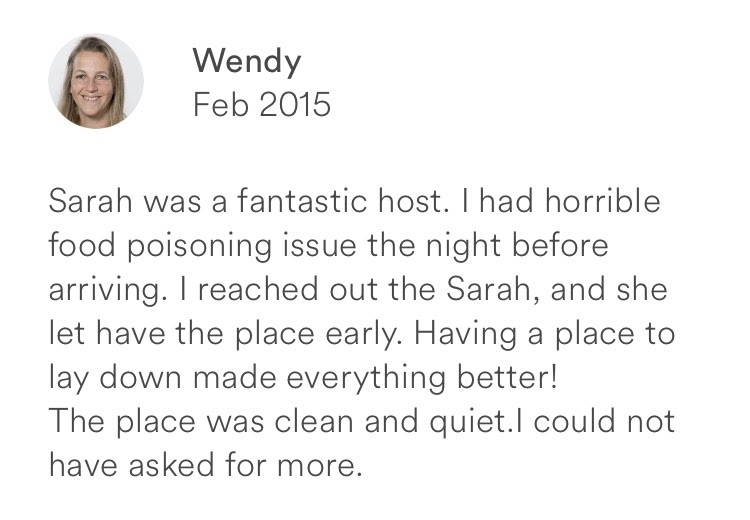 Wendy February 2015 + fantastic host + clean + quiet