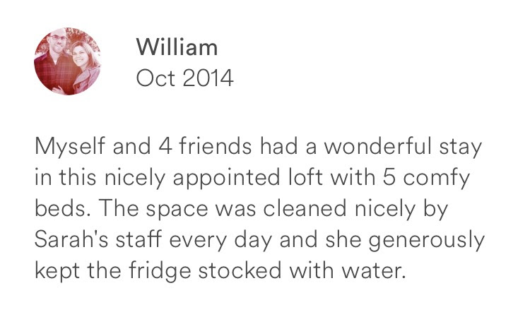 William October 2014 + 5 beds + clean space + water stocked in fridge