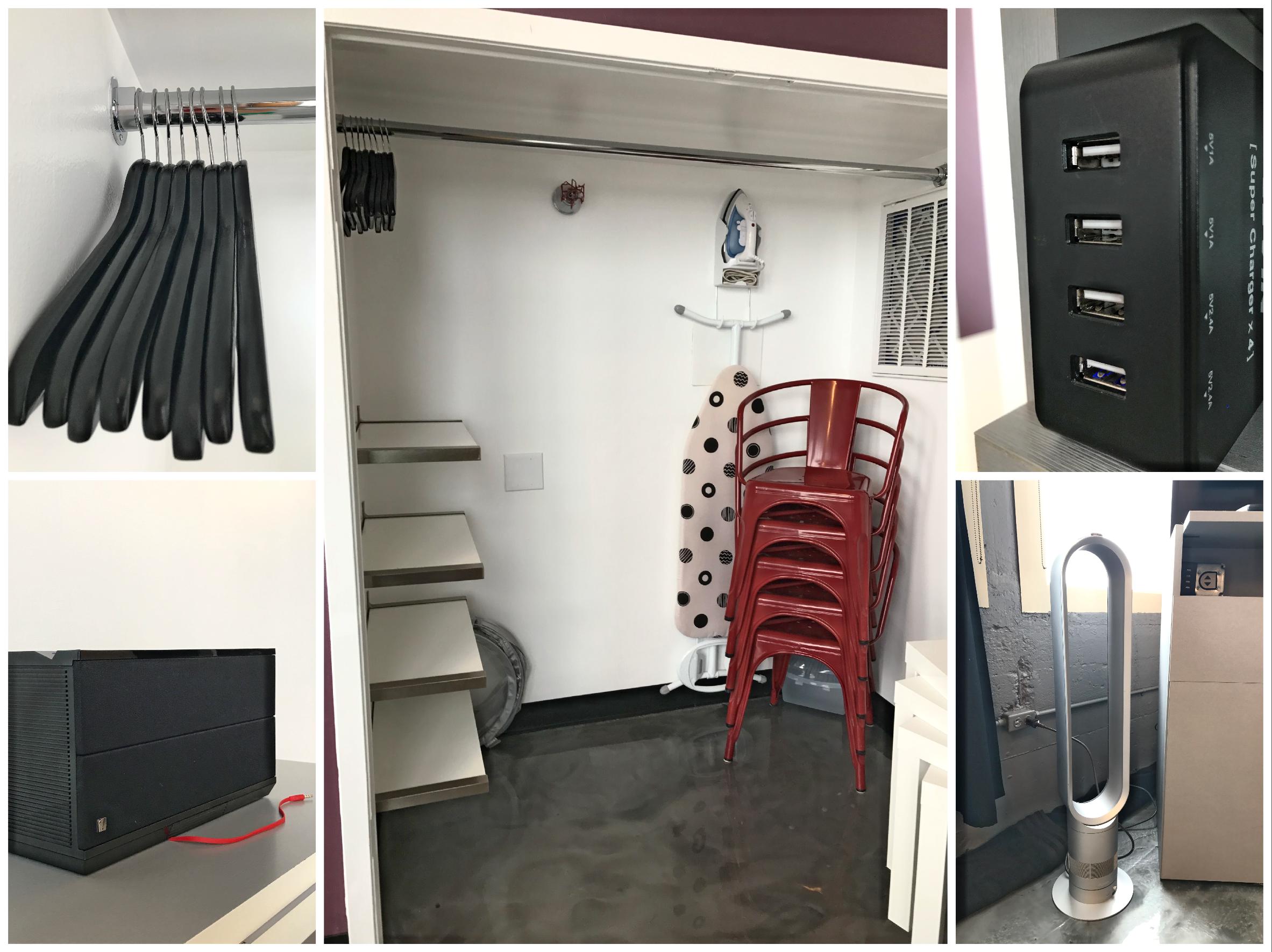 Loft Reverie Hotel 701 - Closet Amenities + Bluetooth Speaker + USB Plugs + Dyson Fan