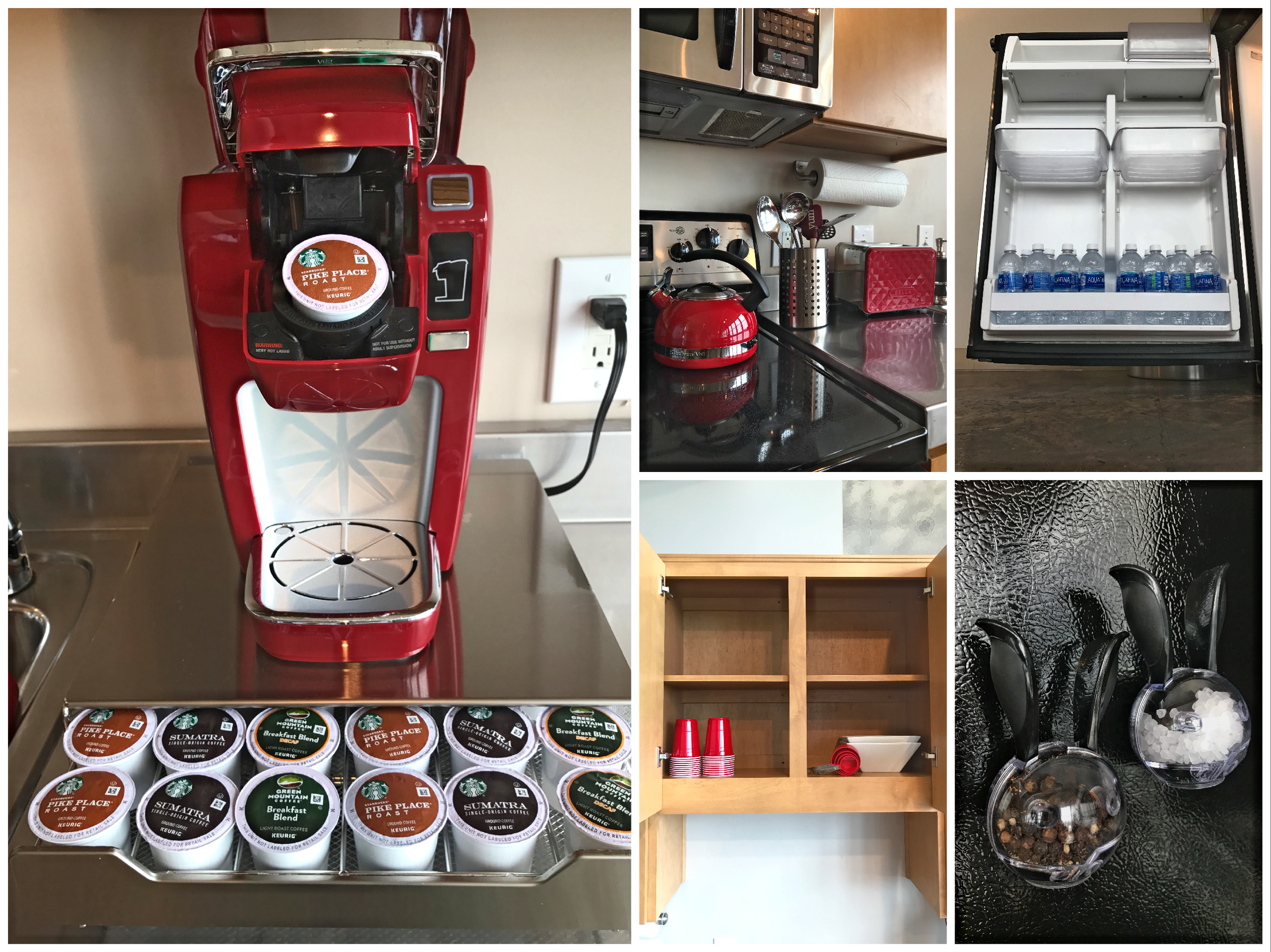 Loft Reverie Hotel 707 Kitchen + Amenities + Coffee + Solo Cups + Measuring + Cooking + Kettle + Toa