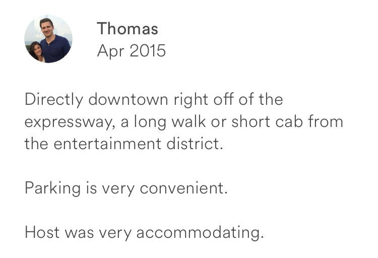 Thomas April 2015 + downtown off expressway + walk and short cab to entertainment + convenient parki