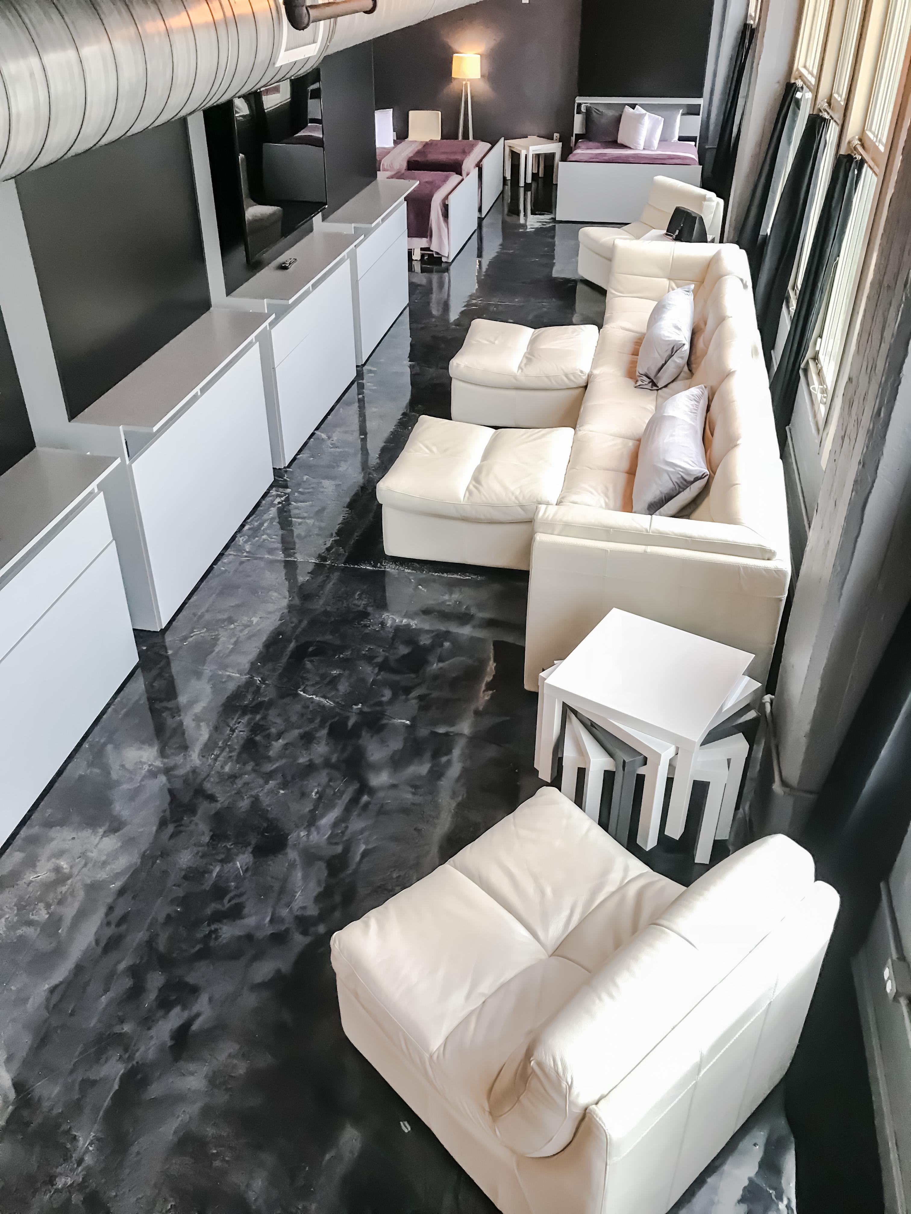 Loft Reverie Hotel 803 - Living + Sofa + Lounge Pit + HDTV + Showtime + HBO + Sleeping + Bedding