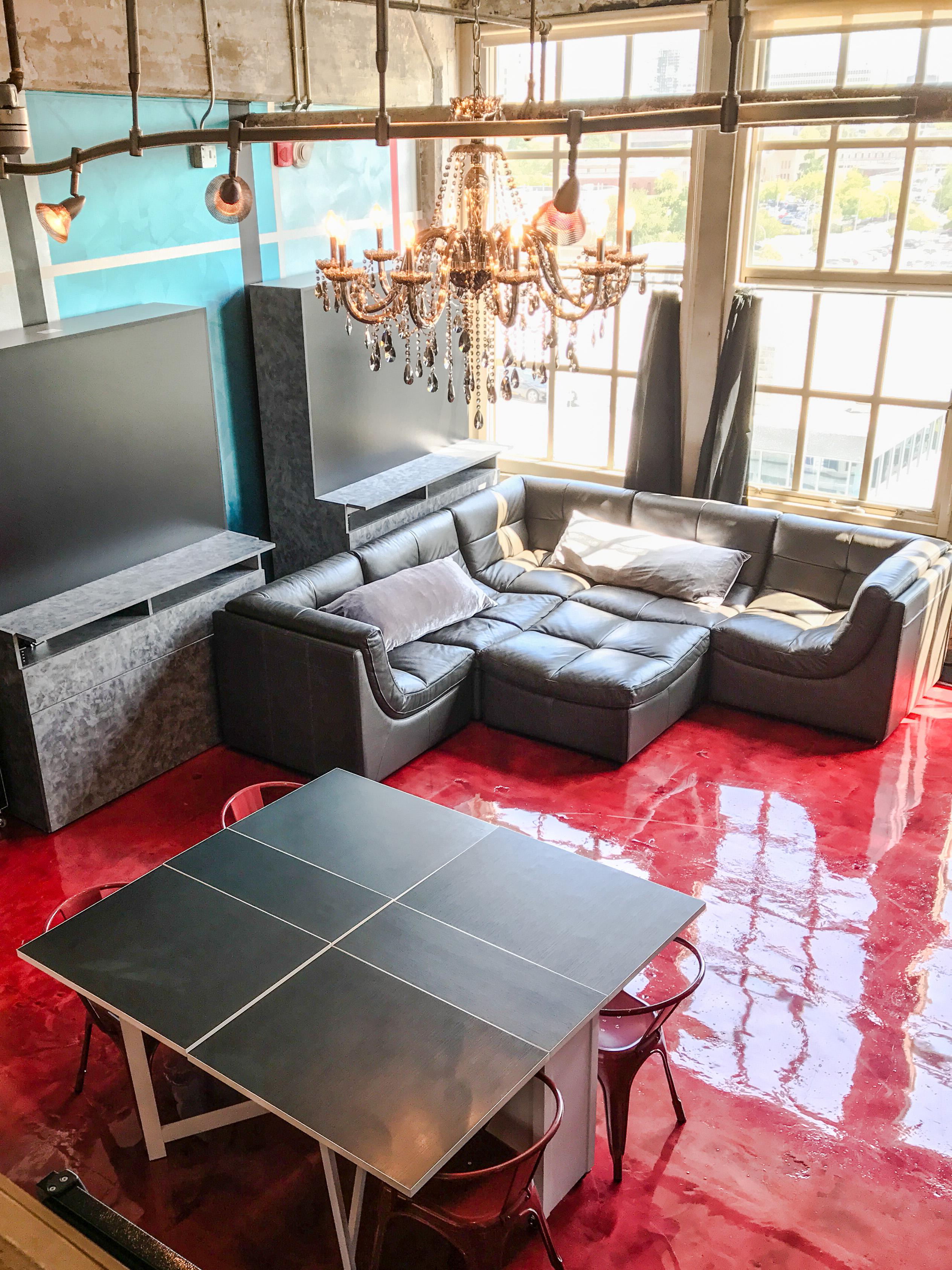 Loft Reverie Hotel 809 - Living + Lounge Pit + Cloud Sofa + Modular Dining + Chandelier