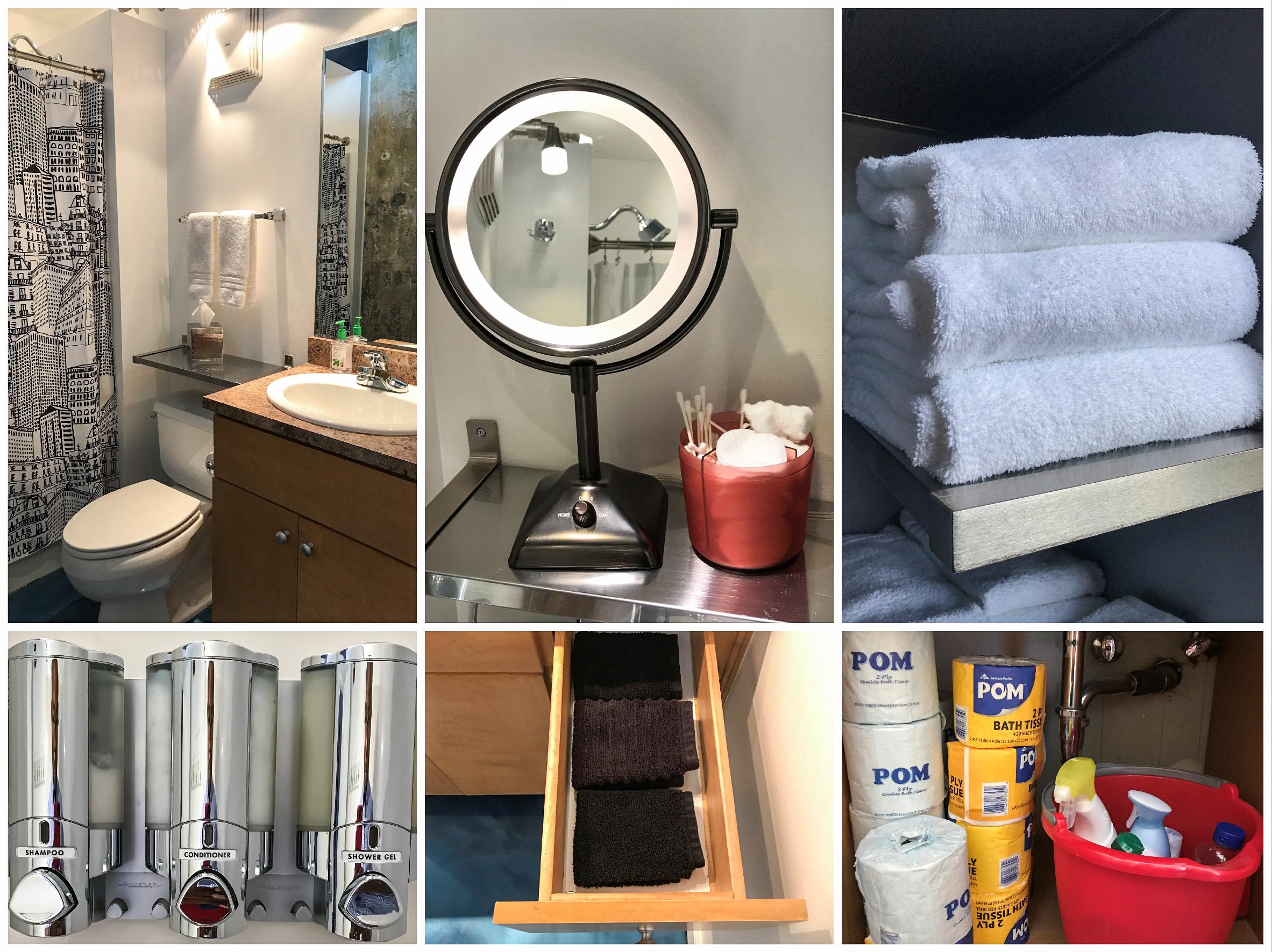 Loft Reverie Hotel 805 - Bathroom Amenities + Towels + Soap + Vanity Mirror + Hair Dryer