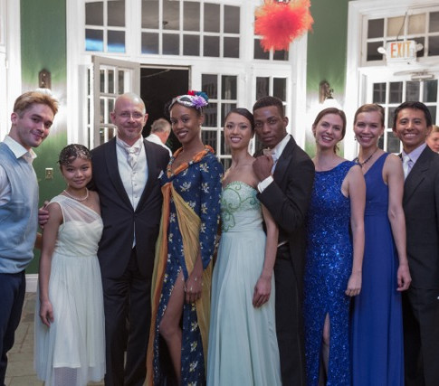 Guest of honor, Mr. Eric Bayer, Deputy Consul General of France kindly posing with Ballet des Amériques company members