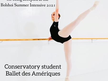 BDA students acceptance to the Bolshoi Summer Intensive