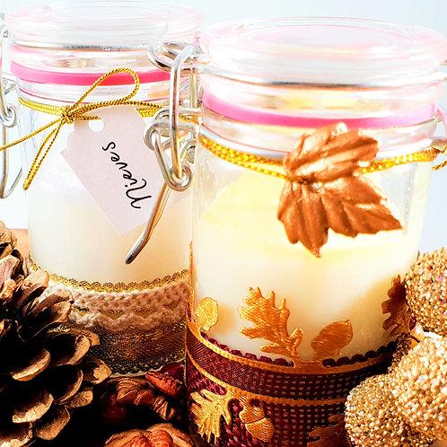 Pack 2 Velas Navideñas de Soja - Aceites Esenciales - Personalizadas -