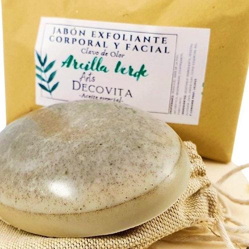 Jabón Exfoliante Arcilla Verde con Clavo de Olor