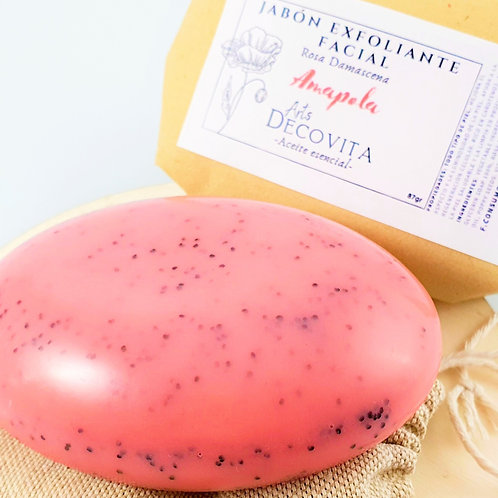 Jabón Exfoliante Rosa Damascena, Extracto y semillas de Amapola