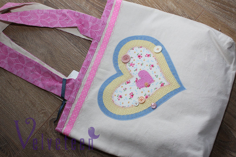 Layered Heart Cotton Tote Bag