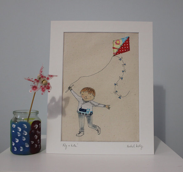 Fly a Kite! Free Motion Embroidery Textile Art