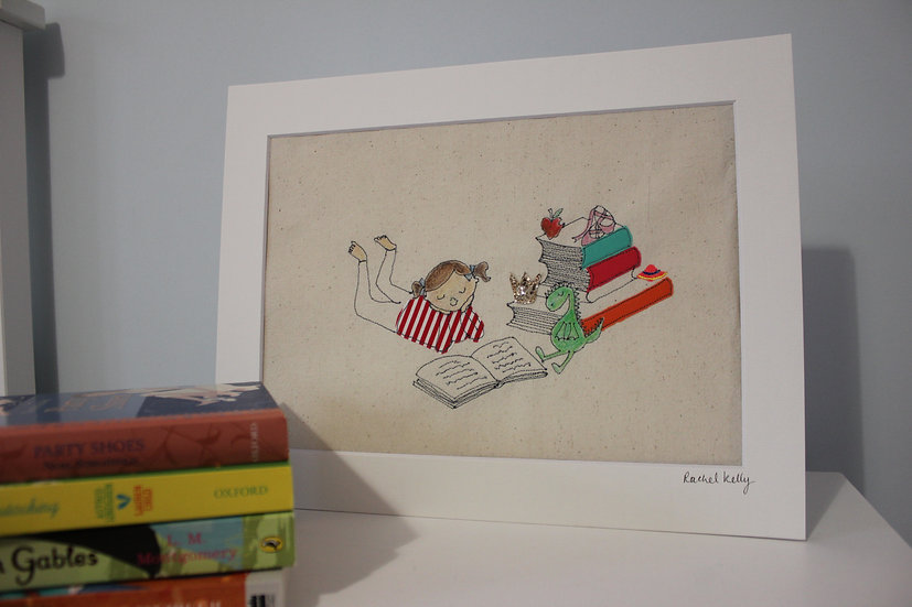 Little Girl Reading Free Motion Embroidery Textile Art