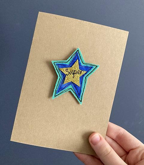 'Super' Embroidered Keepsake card