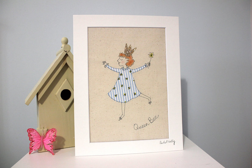 Queen Bee Free Motion Embroidery Textile Art