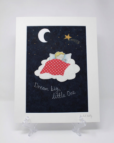 Dream Big, Little One Embroidered Textile Art