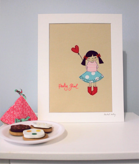 Party Girl Embroidered Textile Art