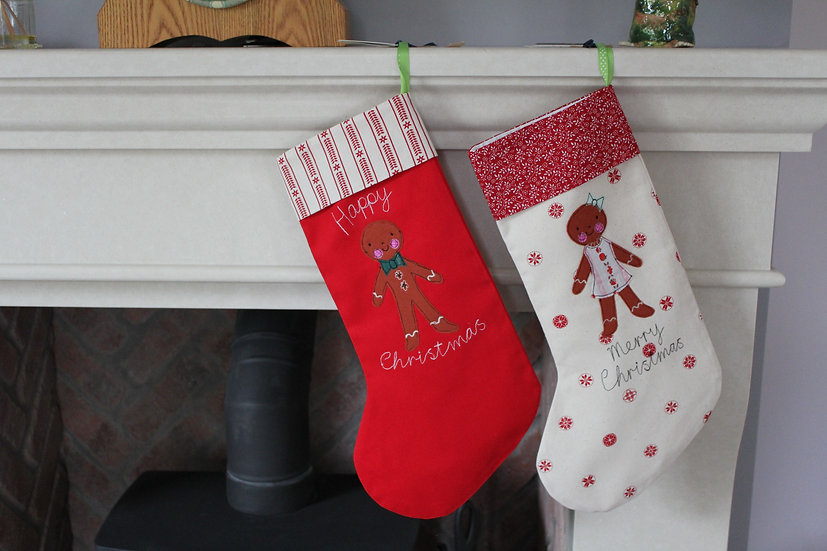 Gingerbread Boy and Girl Stocking