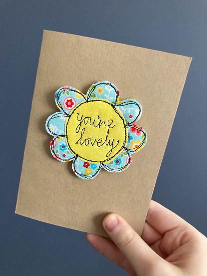 You're Lovely Embroidered Keepsake Card