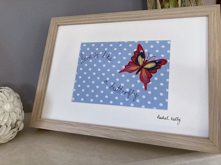 Love is Like a Butterfly Textile Art