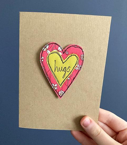 Hugs Embroidered Keepsake Card