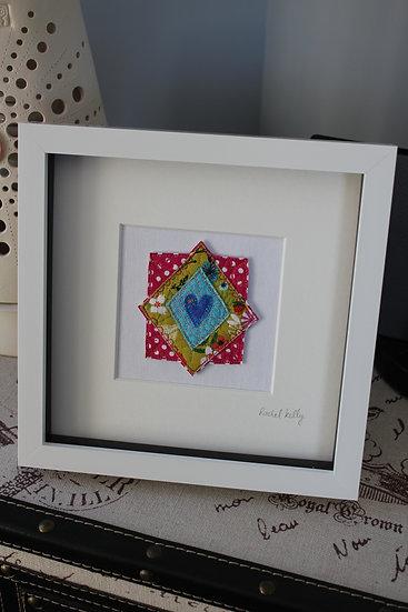 Heart and Diamond Textile Art