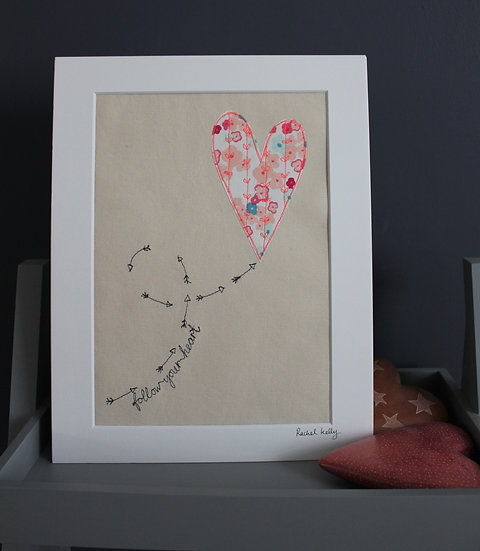 Follow your Heart Free Motion Embroidery Textile Art