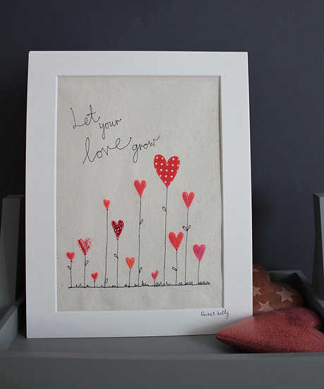Let your Love Grow Free Motion Embroidered Textile Art