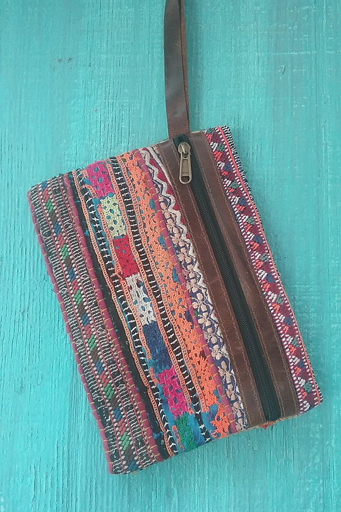 Handmade Wristlet with Leather Strap & Zipper