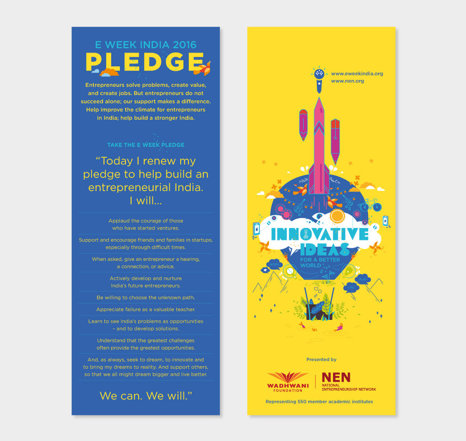The 'pledge card' that was handed out to all the entrepreneurial students.
