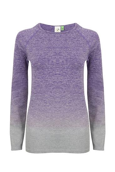 Women's Seamless Fade Out Long - Purple/Light Grey Marl
